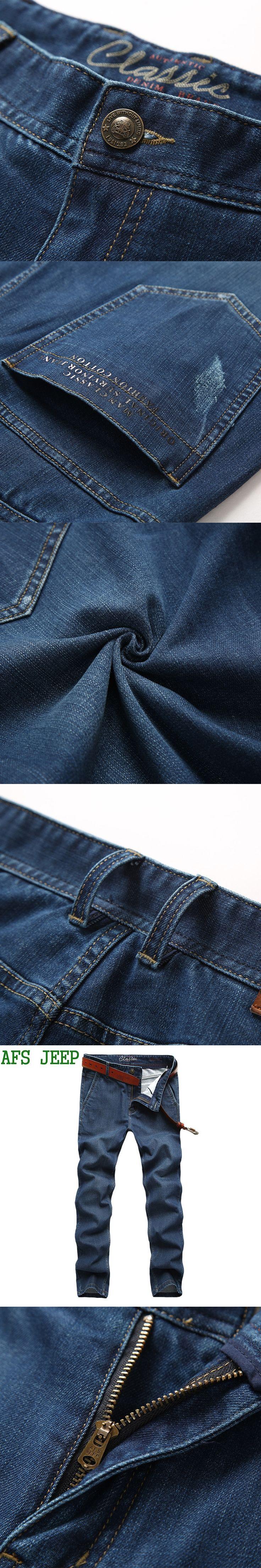 AFS JEEP Male Cotton Men Pants Casual Straight Trousers High Quality men Soft Denim Pants men Micro elasticity Business 82