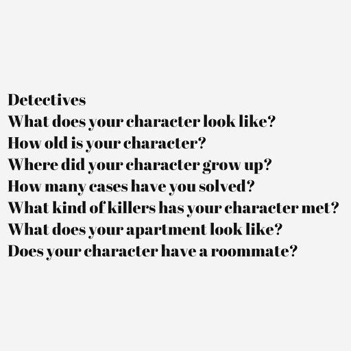 Some questions to help you write about your character