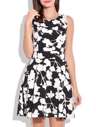 Black and White Floral Print Short Dress - Online Shopping for Dresses