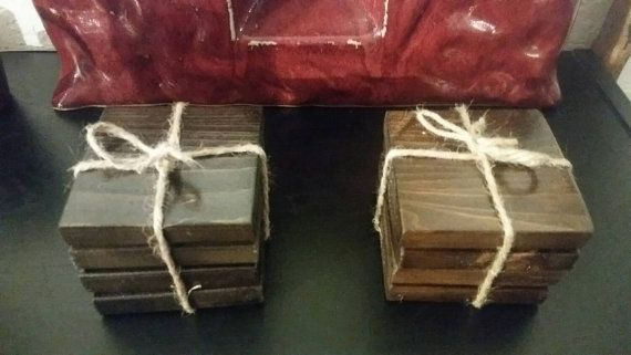 Reclaimed Wood Coasters. Rustic Coaster Set  by ErbRecycledDesigns