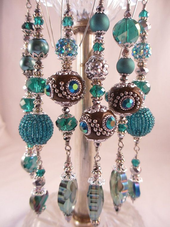 Exotic Teal And Silver Kashmiri Christmas by LaReineDesCharmes, $36.00