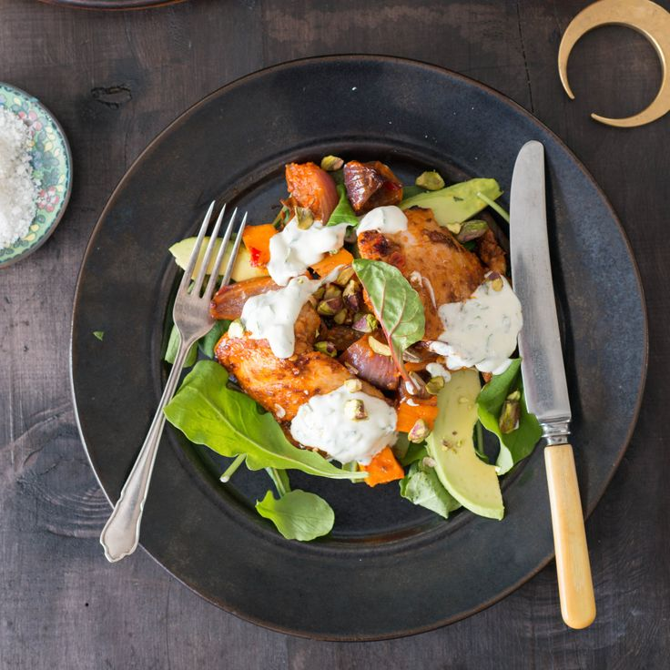 Harissa Chicken, Pumpkin and Avocado Salad with Mint Yoghurt Dressing By Nadia Lim