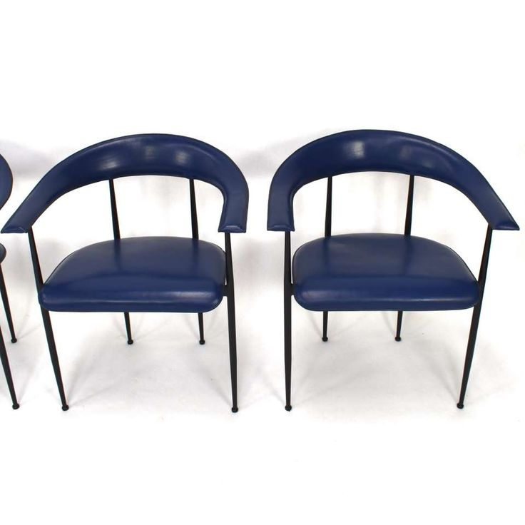 For Sale on 1stdibs Set of four dark blue leather P40