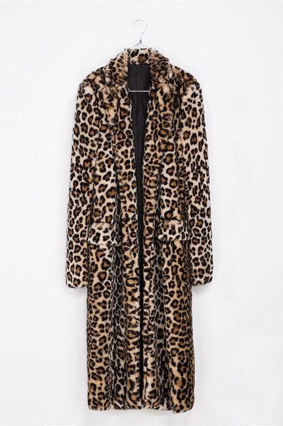 Brown Leopard Faux Fur Maxi Coat