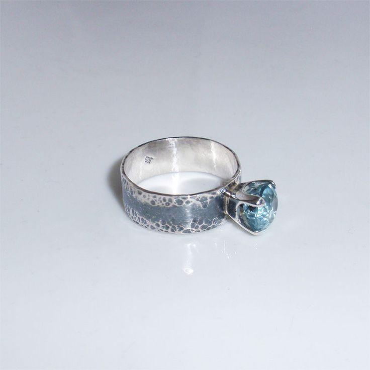 "Кольцо ""Hope"". Аквамарин, серебро. - голубой, кольцо с аквамарином"