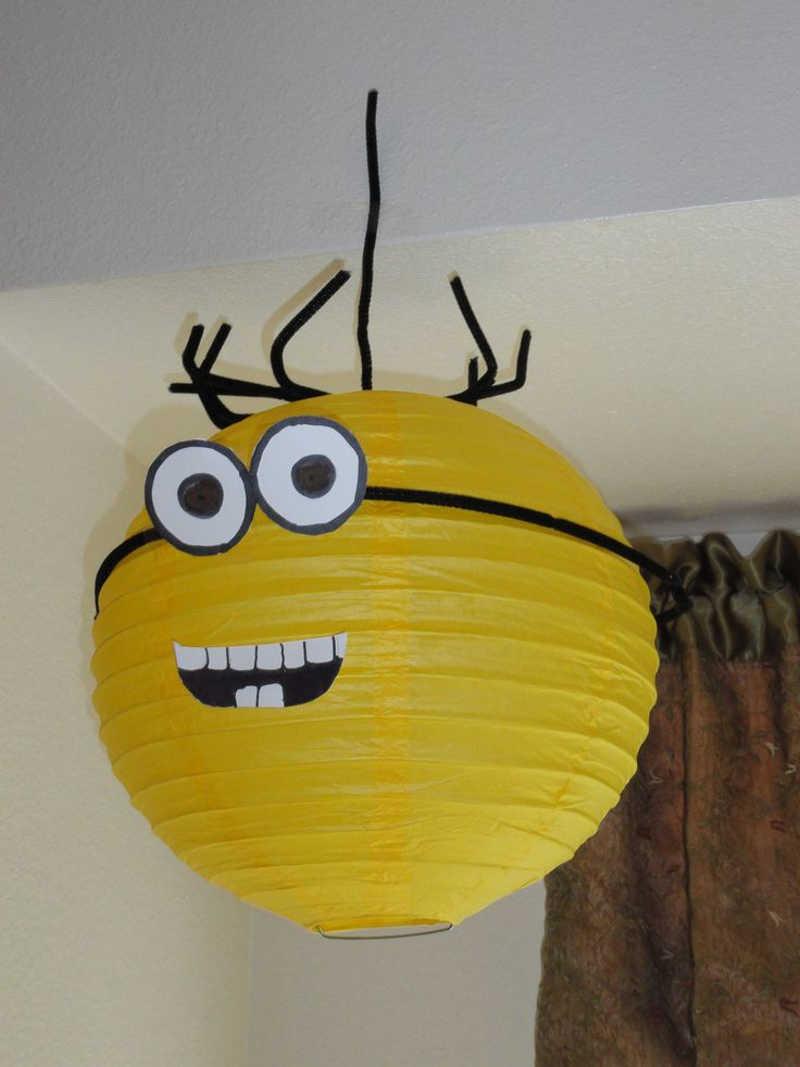 Minions made from party lanterns and pipe cleaner hair