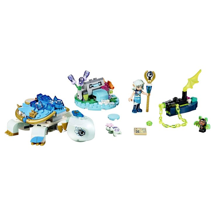 Seek the magic within to help Naida protect the Elemental Guardian creature! This exciting LEGO® Elves building toy features a large buildable water turtle with movable head and legs, and space for a mini-doll figure, plus a small island with disc shooter and a boat with chain shooter and space for a bat. Includes a mini-doll figure, small turtle figure, fish figure and a bat figure.