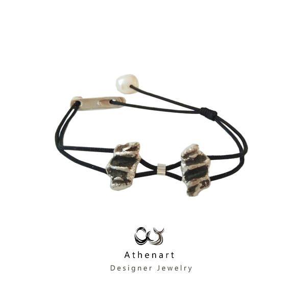 Silver charm braceletmodern braceletoxidised