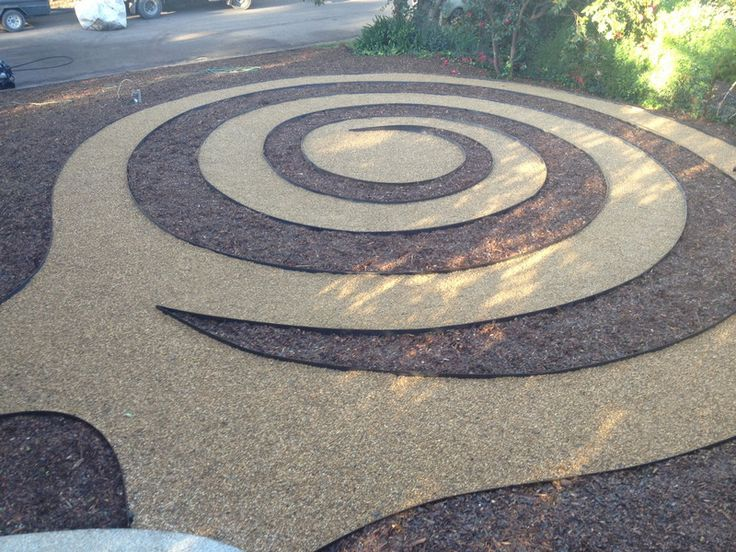 spiral design with rock path and mulched planting areas could be used inside a driveway circle