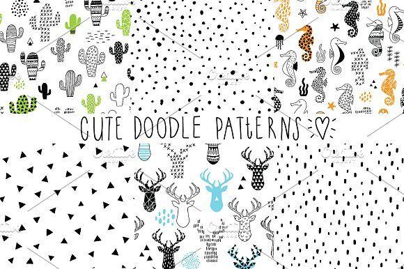 cute doodle patterns by artn'Lera on @creativemarket