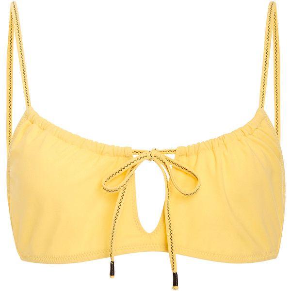 Kisuii     Gia Keyhole Bikini Top ($110) ❤ liked on Polyvore featuring swimwear, bikinis, bikini tops, yellow, cut out bikini, cut-out bikinis, cutout bikini top, swimsuit tops and strappy bikini top