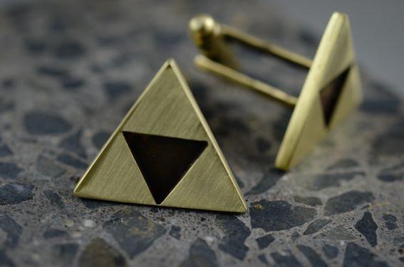 Brass Zelda Triforce cufflinks