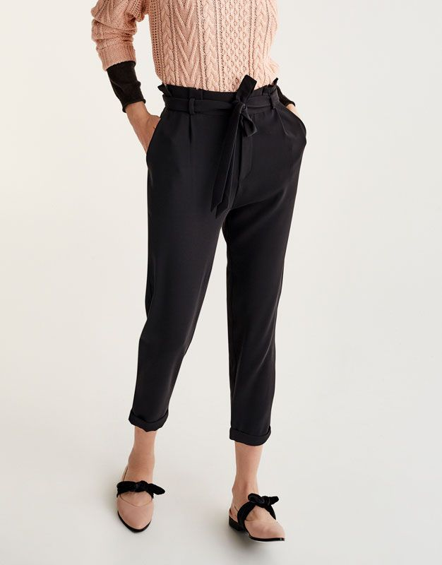 Paperbag trousers with tied belt - Trousers - Clothing - Woman - PULL&BEAR United Kingdom