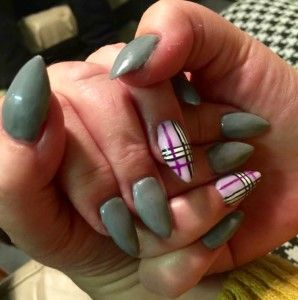 Grey and pink acrylics with free hand nail art