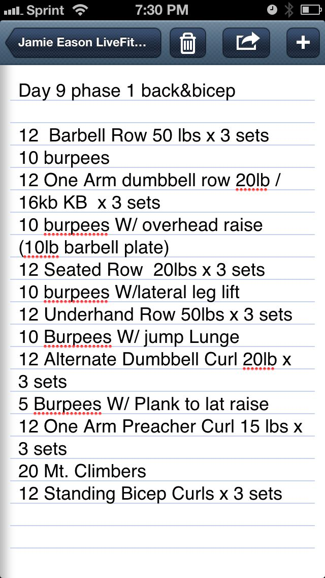 Day 9 of LiveFit Trainer adapted for home.