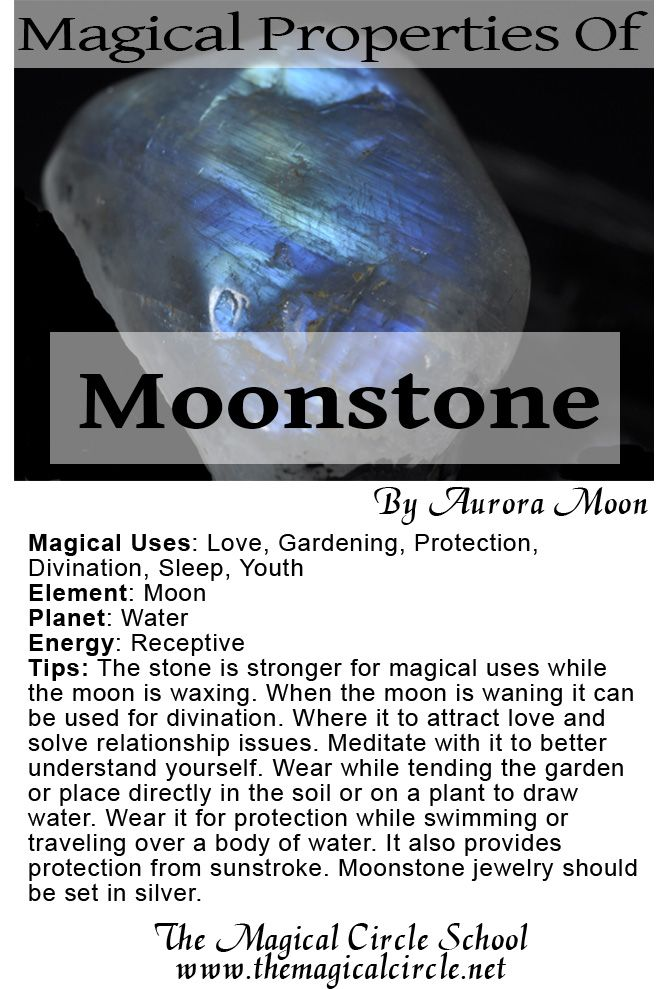 The Magical Properties of Moonstone created by Aurora Moon for The Magical Circle School www.themagicalcircle.net