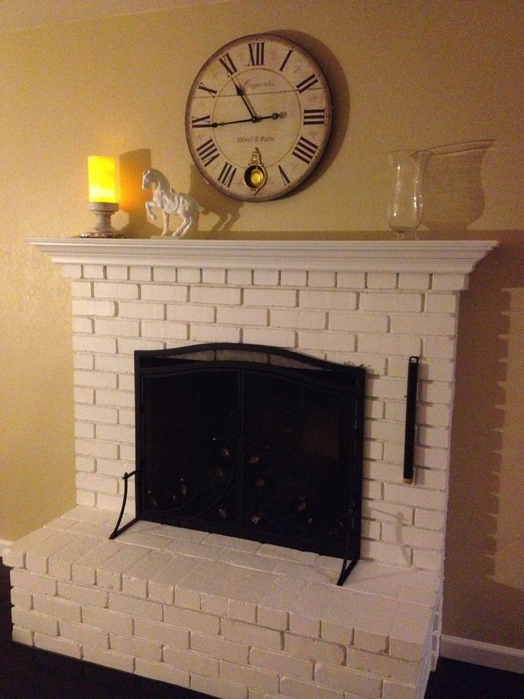 Fireplace And Mantel Painted White Swiss Coffee Was Flat