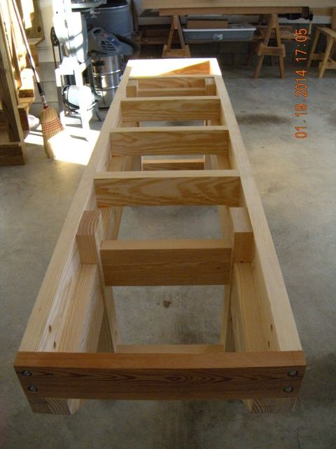 Nicholson - English Workbench Build, picture of internal structure.