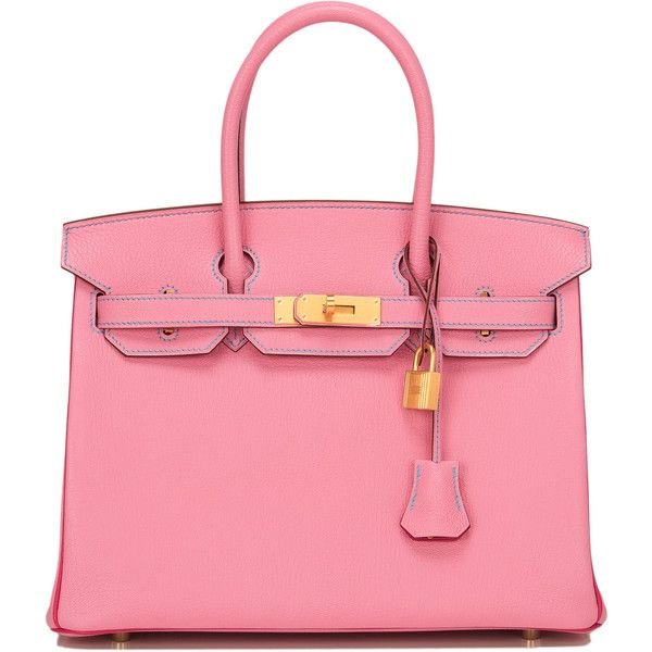 Pre-Owned Hermes Tri-color SO Horsehoe 5P Chevre Birkin 30cm GHW found on Polyvore