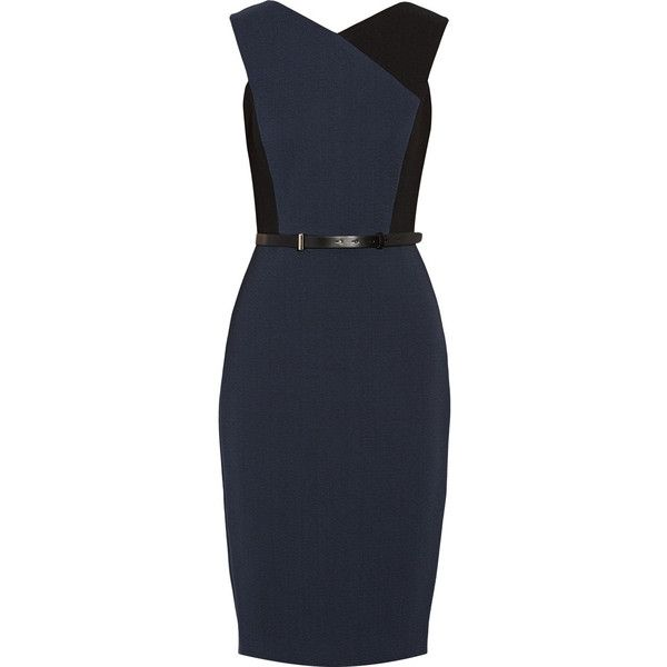 Jason Wu Color-block belted dress featuring polyvore, women's fashion, clothing, dresses, vestidos, blue, blue color block dress, color block dress, blue leather dress, blue dress with belt and blue colorblock dress