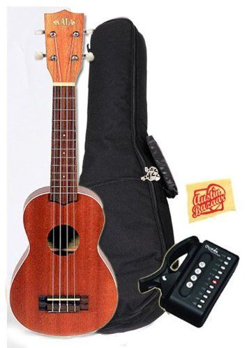 """Kala KA-S Mahogany Soprano Ukulele Bundle with Gig Bag, Tuner, and Polishing Cloth by Kala. $79.99. Bundle includes Kala Mahogany Soprano Ukulele with Gig Bag, Tuner, and Polishing Cloth. The Kala Mahogany Series ukulele offers a full-bodied tone with plenty of """"sweet highs"""" and """"mellow lows"""" that combine for a full, rich sound. Traditional white binding on the top and the back accents the rich satin mahogany finish, while chrome die-cast tuners assure your instrum..."""