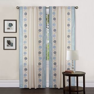 Lush Decor Beige/ Blue 84-inch Annabelle Curtain Panel - Overstock™ Shopping - Great Deals on Lush Decor Curtains
