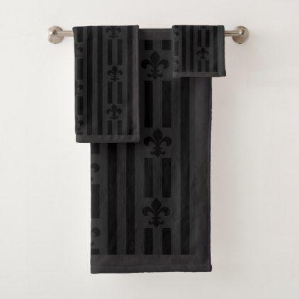 Black Velvet Fleur de Lis Bath Towel Set - home gifts ideas decor special unique custom individual customized individualized