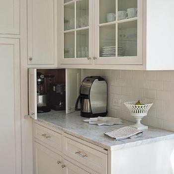 Hidden Small Kitchen Appliances Cabinet, Transitional, Kitchen
