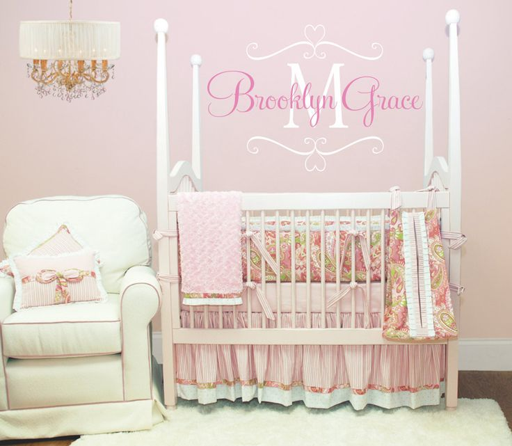 name wall decal baby nursery shabby chic heart frame vinyl name and initial decal for