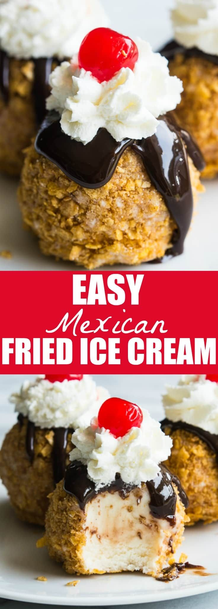 An easy to make Mexican Fried Ice Cream. All the flavors of the classic without the actual frying!! Perfect individual desserts for summer!  PIN IT FOR LATER! Easy Mexican Fried Ice Cream. It's a thing. And yes, it involves actually frying ice cream. Because, people love to fry things. Have you ever been to a fair? They fry sticks of butter there these days. And while that sounds like a heart attack waiting to happen, fried ice cream is wonderful! However, this easy mexican fried…