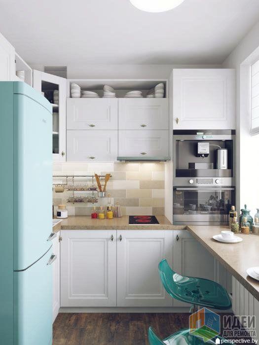 Дизайн кухни, светлая кухня фото, стол-подоконник на кухне
