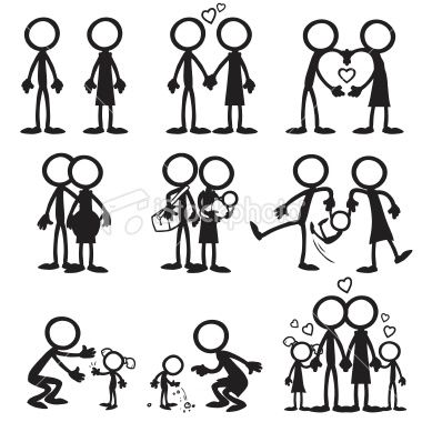 Stick figure Family Love | Stock Illustration | iStock