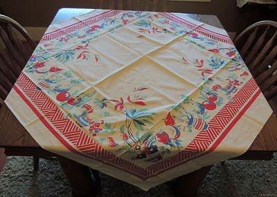 Vintage Southwestern Tablecloth 50s Colorful VIBRANT Wilendur? NMINT!