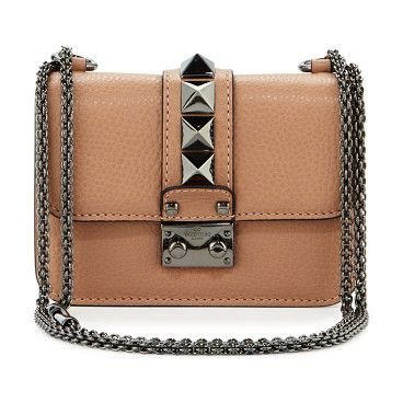 Lock micro mini shoulder bag by Valentino. Valentino pebbled calfskin shoulder bag. Signature ruthenium Rockstud trim. Chain shoulder strap can be doubled, 12. ...