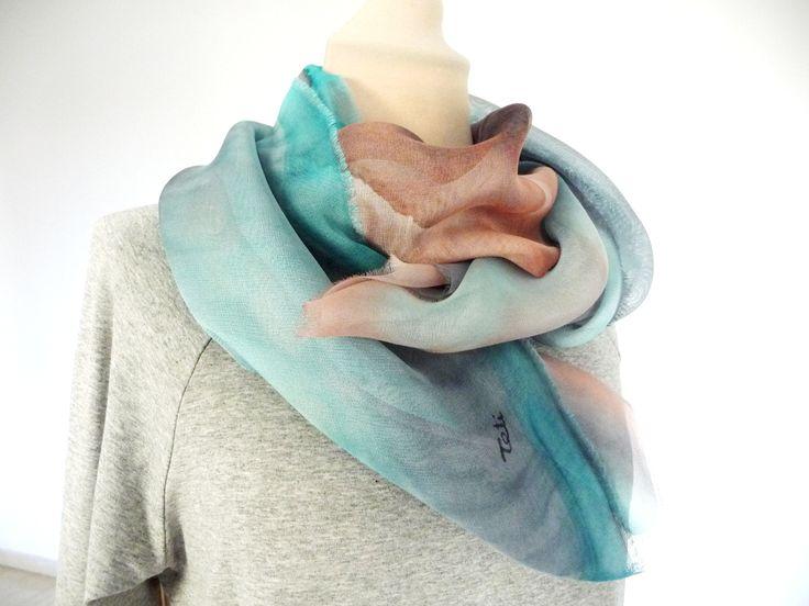 Handpaimted silk scarf