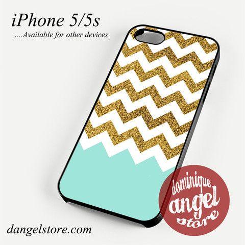 Glitter Gold White Chevron Phone case for iPhone 4/4s/5/5c/5s/6/6 plus