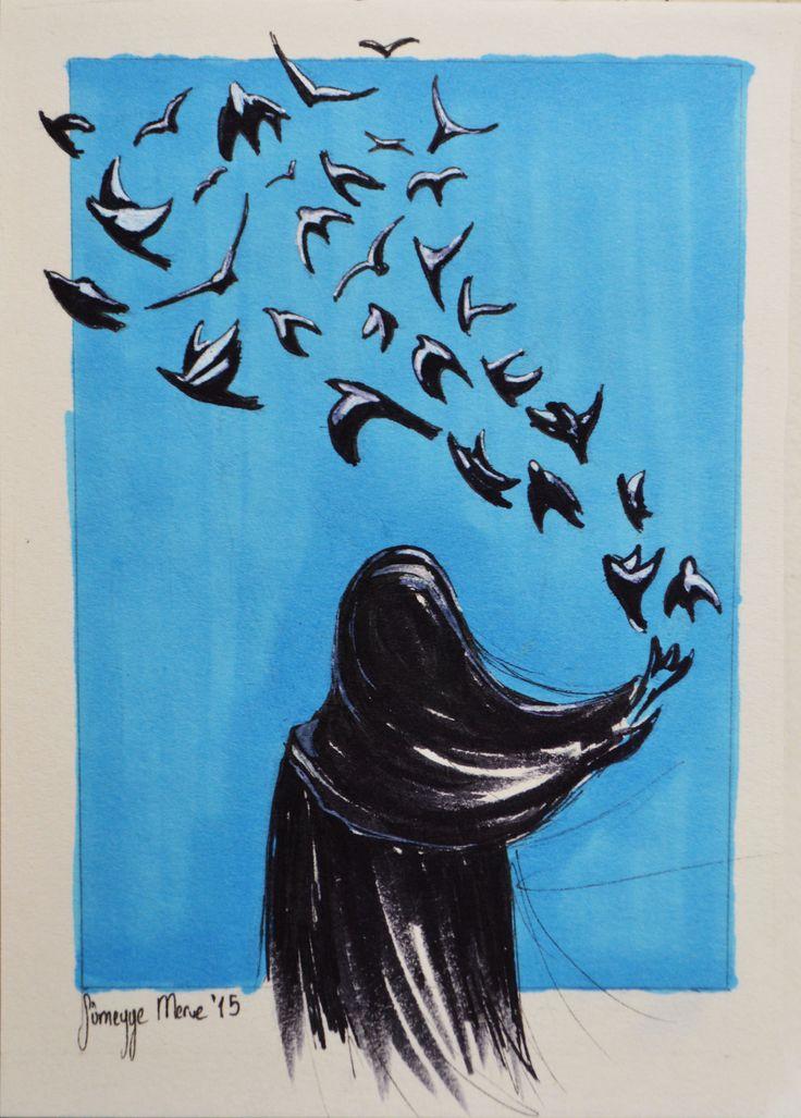 Pencereyi kapama kuş girebilir içeri.. Pencereyi kapama gök girebilir içeri... #brushpen #markers #markersketch #copic #illüstrasyon #illustration #doodle #sketch #sketchbook #birds #uçuşan #kuşlar #fly #kirlangiclar #swallow #basortusu