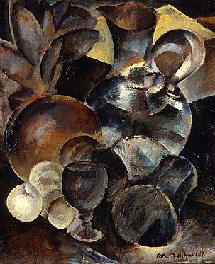 Rodolphe-Théophile Bosshard - Carafe et autres objets, 1916-17 - Huile sur toile, 61 x 50 cm
