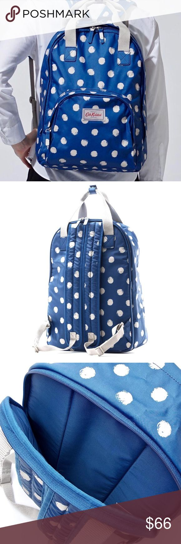"""Cath Kidston Multi Pocket Backpack Cath Kidston backpack 2WAY specifications """"Multi Pocket Smudge Spot"""" The backpack characterized by the long steering wheel which can last like tote bag. I use the material with cushion characteristics for the back compartment. Marine Compartment = 1 Outer pocket = 2 PVC coating cotton Polyester  PRICE FIRM, thank you :) Cath Kidston Bags Backpacks"""
