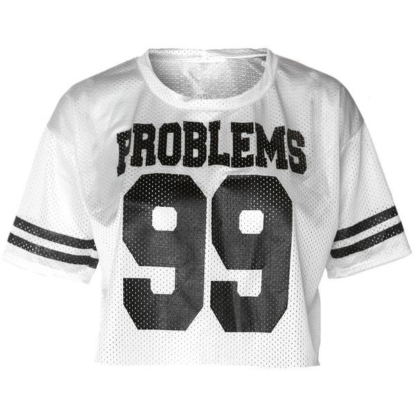 Athletic Jersey Cropped Tee, 'PROBLEMS 99' White found on Polyvore featuring tops, t-shirts, striped crop top, striped t shirt, white tee, stripe tee and white crop tee