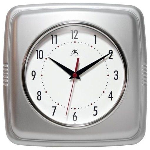 "Infinity Instruments 9"" Square Retro Wall Clock traditional-wall-clocks"