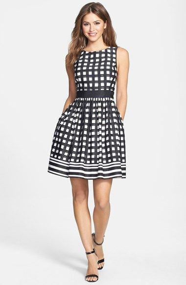 Super cute for work or a casual cocktail event.  I love fit and flare styles to give my straight body style some shape.  Wish it came in more color combos!  Eliza J Print Faille Fit & Flare Dress (Regular & Petite) available at #Nordstrom