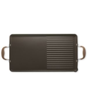 "Anolon Advanced Bronze 10"" x 18"" Double Burner Griddle and Grill Pan with Pour Spouts  - Gold"