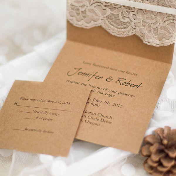 graceful vintage rustic folded wedding invitations lace EWLS045