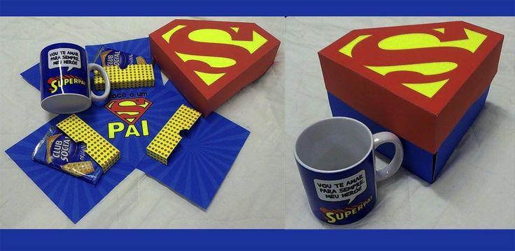 Caixa Explosão Super Pai+ Caneca Personalizada  Caixa para colocar produtos de café da manhã ou chocolates com caneca de porcelana. A caixa e a caneca podem ser personalizadas.  Caixa Papel Glossy 220gr.  Caneca Porcelana