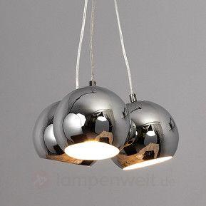 Chromglänzende Kugel-Pendelleuchte Pepa, LED