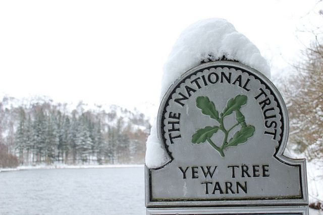 Yew Tree Tarn sign in the snow