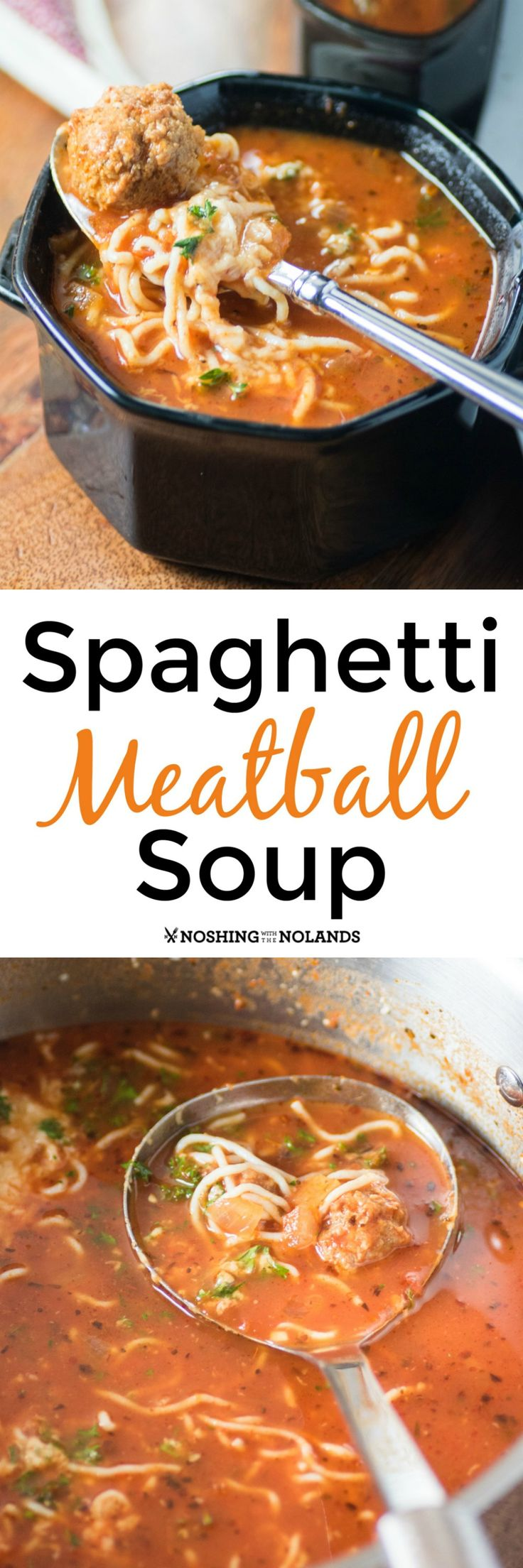 Spaghetti Meatball Soup by Noshing With The Nolands is a hearty soup you can enjoy any night of the week. Your family will want to have it again and again! #ShiratakiNoodles #HouseFoods #ad