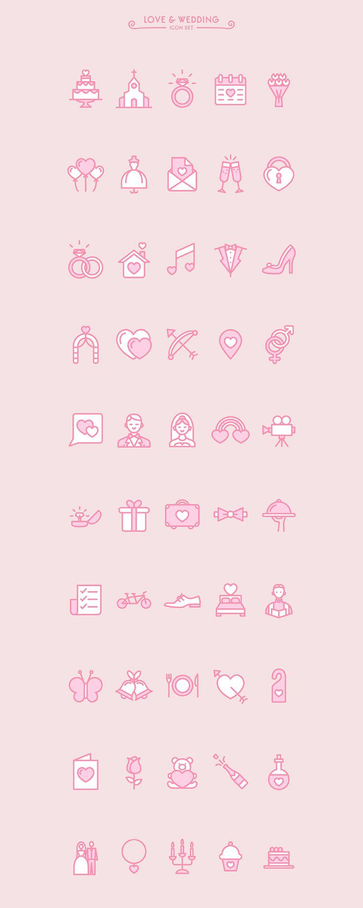 結婚式をテーマにした50種類のアイコンセット「Love & Wedding icon set」 | NxWorld