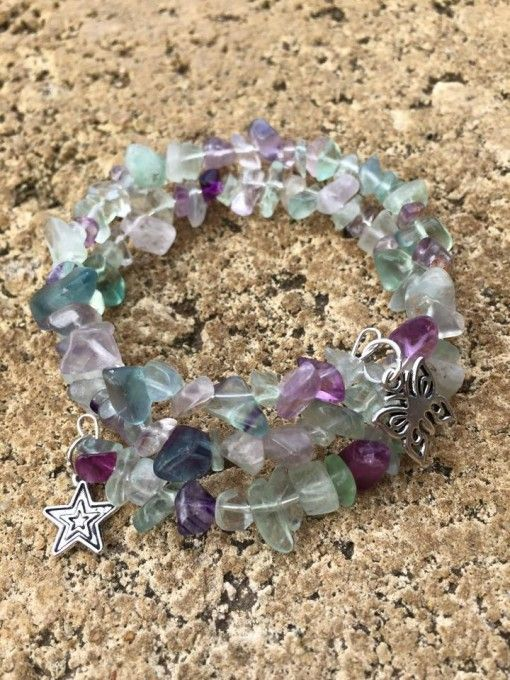 2 x wrap rainbow Fluorite crystal healing gemstone spiral bracelet. $9.95 get it here http://www.divineaura.com.au/product/fluorite-2-x-wrap-spiral-bracelet/ or join our family on Facebook @ www.facebook.com/divineaura123
